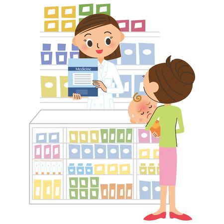 sales floor: pharmacist and visitor Illustration