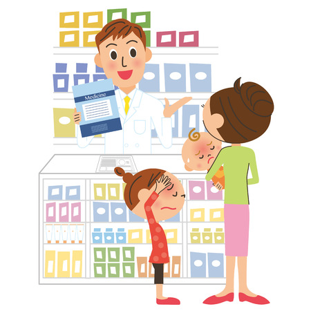 prescribed: pharmacist and visitor Illustration