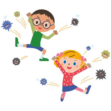 nene y nena: ni�o que no pierde un resfriado Vectores