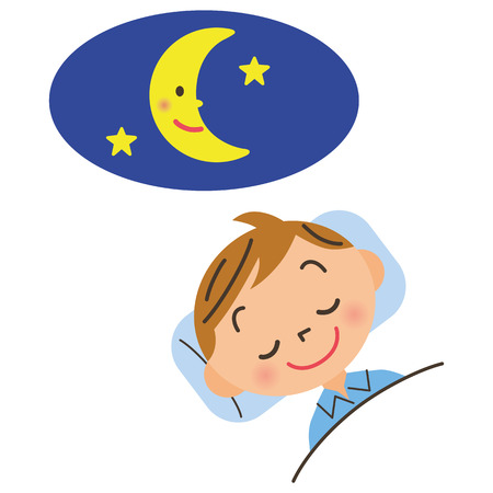 child who goes to bed early Illustration