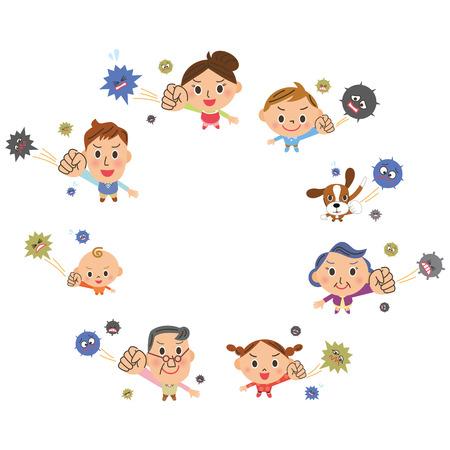 combate: familiar de tres generaciones que lucha contra un resfriado