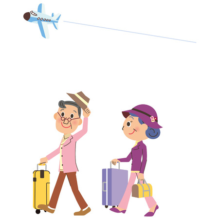 travel in old couples Illustration