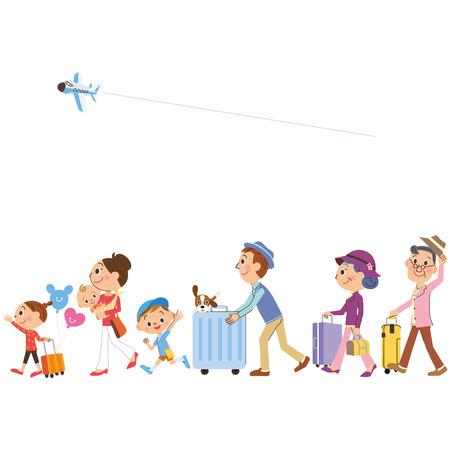 travel in three-generation family Illustration
