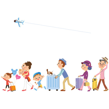 travel in three-generation family Vectores