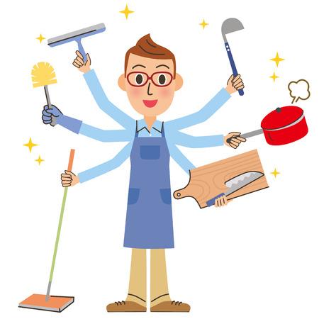 Housework and husband  イラスト・ベクター素材
