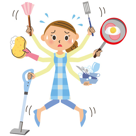 The housewife that housework is great Stock Illustratie