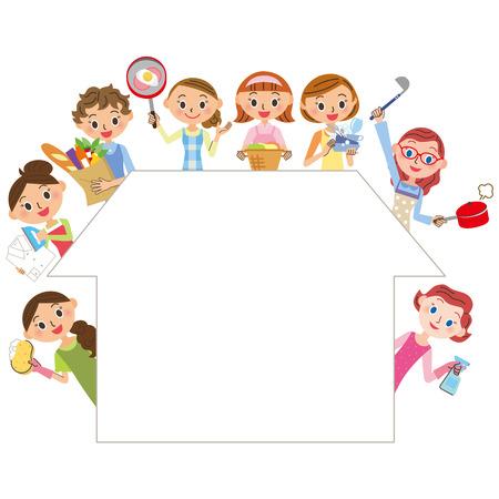 huisvrouw die huishoudelijk werk doet Stock Illustratie