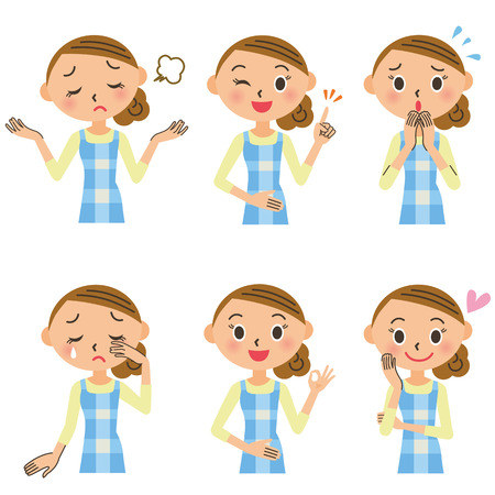 Various poses of the housewife Vectores