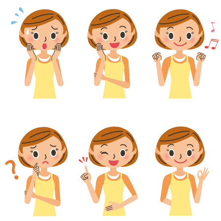 expression: Various poses of the housewife Illustration