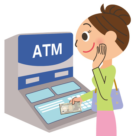 cash back: woman and automated-teller machine