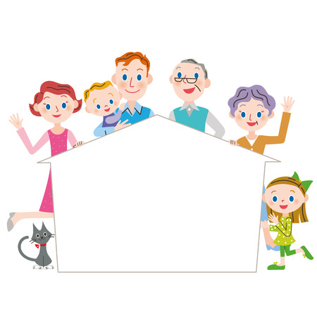 family house: Frame of a family and the house