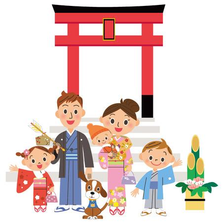 shrine: Parent and child who go to the Shinto shrine