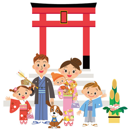 shinto: Parent and child who go to the Shinto shrine