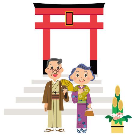 shrine: old couple who goes to the Shinto shrine