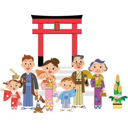 shinto: three-generation family who goes to the Shinto shrine