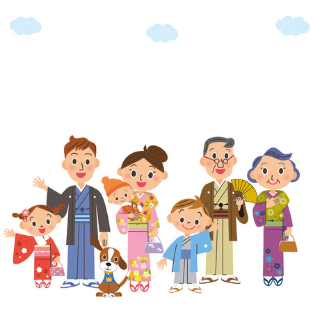 old and new: three-generation family who comes with a kimono Illustration