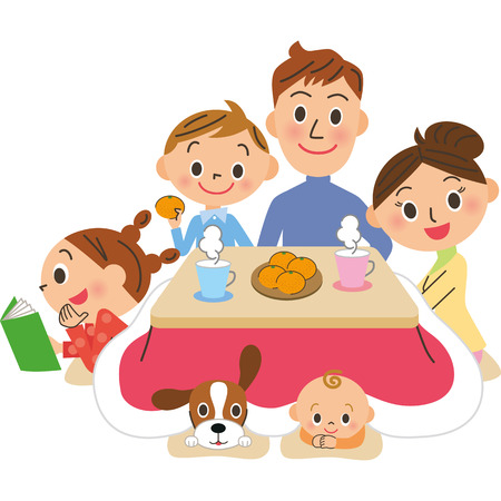 pleasure: Winter family pleasure of home life Illustration