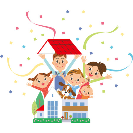 Parent and child who jump out of a house Ilustracja