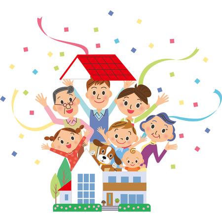De drie-generatie familie die uit een huis springt Stockfoto - 49927673