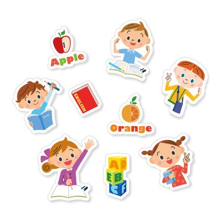 영어를 공부 어린이 일러스트