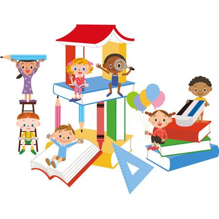 book and children  イラスト・ベクター素材