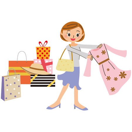 ショッピング女性  イラスト・ベクター素材