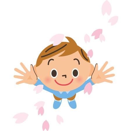 桜の花びらと少年