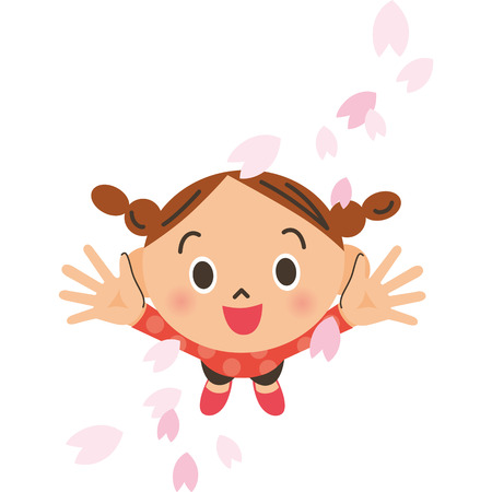 Cherry blossom petals and girl