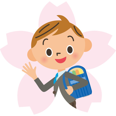 Cherry blossoms and boy Stock Illustratie