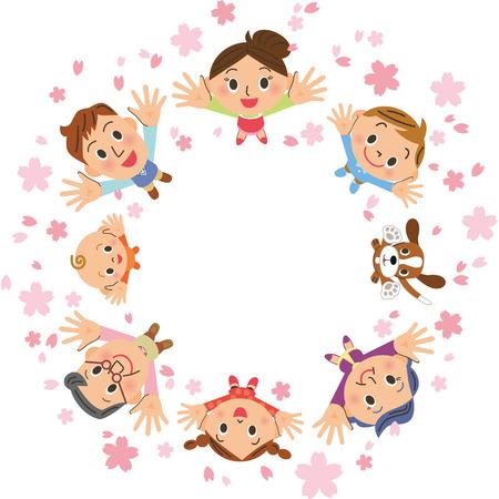 Kirschblütenblätter und Familie