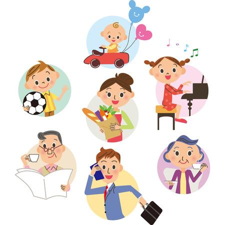 Close three-generation family  イラスト・ベクター素材