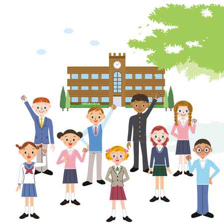 school and students Illustration