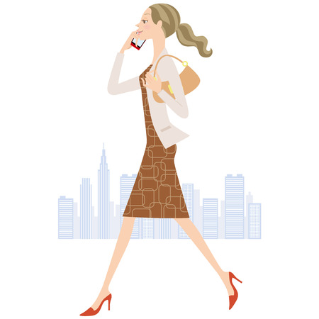business district: woman who calls while walking
