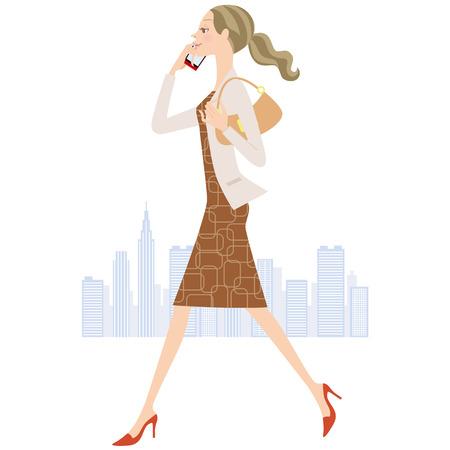 girl illustration: woman who calls while walking