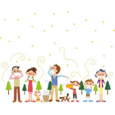 꽃가루 및 3 세대 가족 일러스트