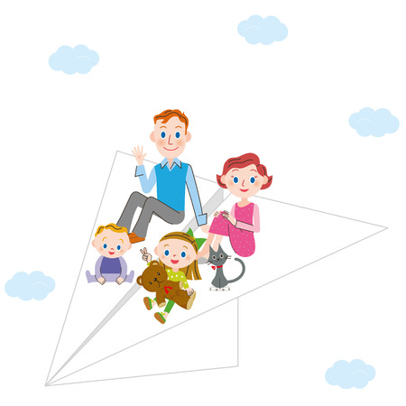 paper airplane: Paper airplane and parent and child Illustration