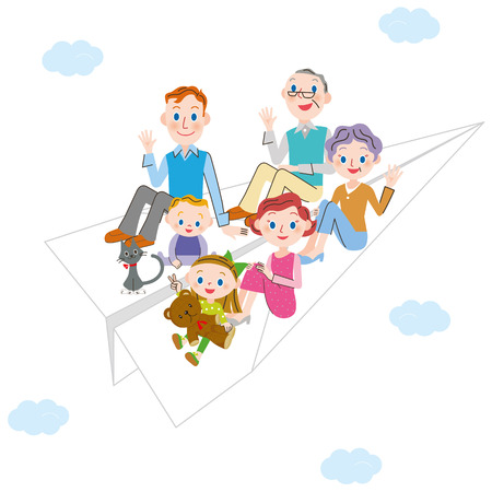 paper airplane: paper airplane and three-generation family