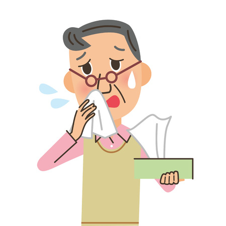 flu prevention: man who blows his nose