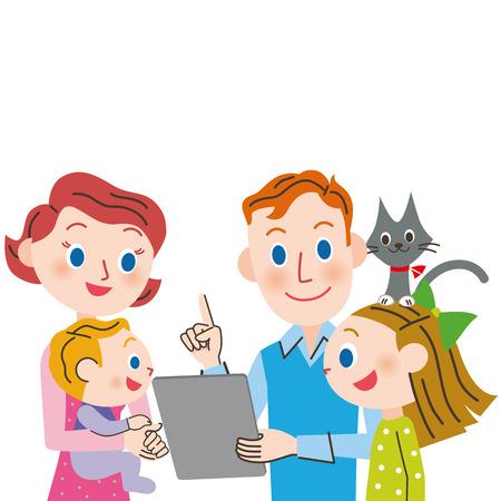 Parent et enfant et tablette