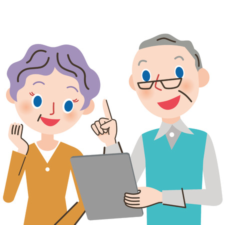 old couple: old couple and tablet