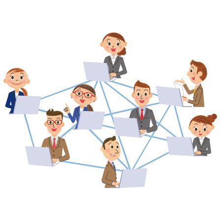 la red y la oficina del trabajador Ilustración de vector