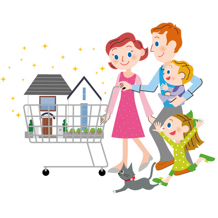 purchases: family who purchases a house Illustration