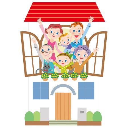Et la famille de trois générations Maison Banque d'images - 51982169