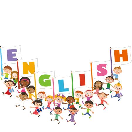 inglese flag: bandiera inglese e l'incontro del bambino Vettoriali