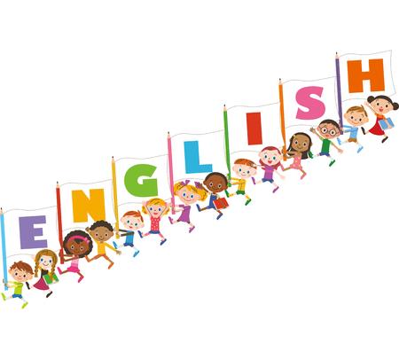 bandera inglesa: Los niños que tienen una bandera de Inglés