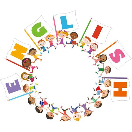 영어 깃발과 아이들