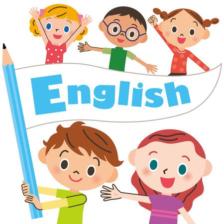 어린이 영어 플래그를 갖는 일러스트