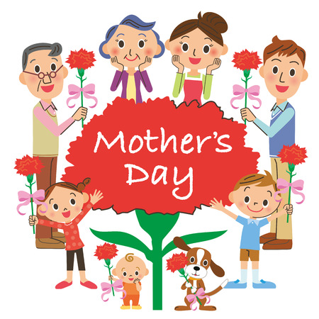 Mother's Day and the third generation meeting Vectores