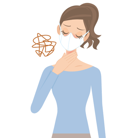 hay fever: woman that a throat aches