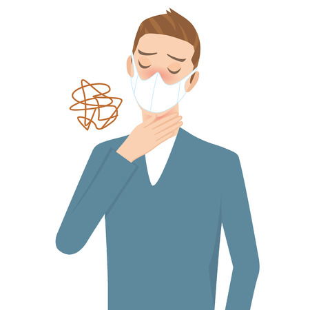 flu prevention: man that a throat aches Illustration